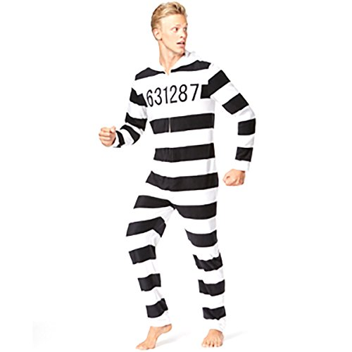 (American Rag Mens Jailbird Costume Onesie Union Suit (Large, Black and)