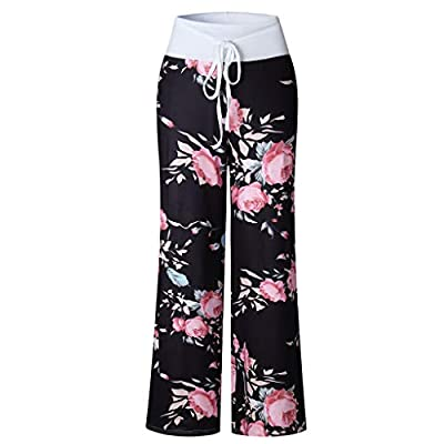 Meikosks Womens Trousers High Waist Comfy Stretch Floral Print Drawstring Palazzo Wide Leg Lounge Pants: Clothing