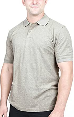 Utopia Wear Men's Cotton Blend Solid Polo Shirt (Small, Oxford Grey)
