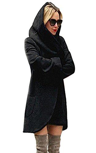 Nero Cappotto Cappuccio Inverno Minetom Con Autunno Parka Jacket Cardigan Hoodie Donna Cappotti Moda Casuale Basic Giacca qwqBxURp