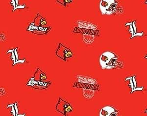 NCAA Louisville Cardinals Team Licensed All Over Fleece Fabric