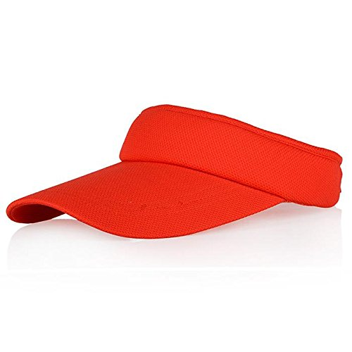 Veatree Sun Visors for Women and Men, Long Brim Thicker Sweatband Adjustable Velcro Hats Caps for Cycling Fishing Tennis Running Jogging and other Sports, Red