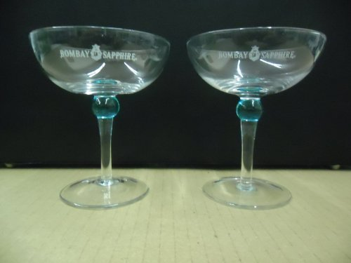 Set of 2 Bombay Sapphire Gin Blue Ball Stem Handblown Coupe Cocktail Martini Glasses