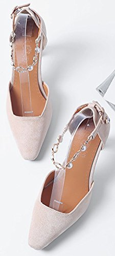 Idifu Kvinna Mode Ankelbandet Låg Topp Spetsig Tå Faux Mocka Haute Chunky Klackar Sandaler Beige