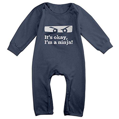 Eilinqch Funny Ninja Baby Boys Girls Cute Long Sleeve Romper Jumpsuit Bodysuit 6 M Navy