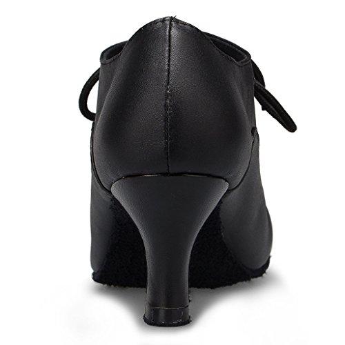 Miyoopark Kvinna Bekväma Snörning Läder Dansskor Svart