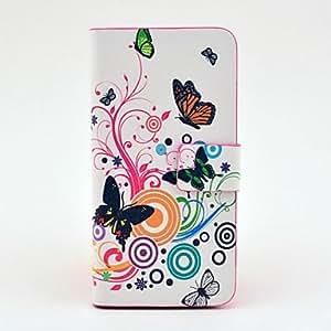 Patrón de mariposa de cuerpo completo del caso del tpu de cuero para el iphone 5/5s
