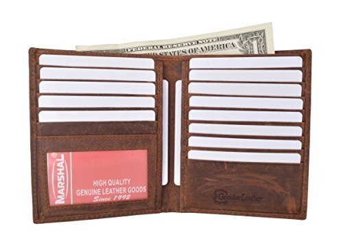 RFID Blocking Bifold Hipster Credit Card Wallet Premium Lambskin Leather (Vintage) ()