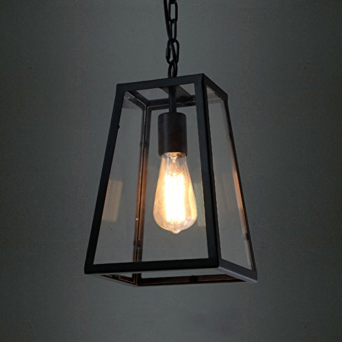 BAYCHEER HL370754 Industrial Retro Style Empire Clear Glass Shade Matte Black Pendant Ceiling Light Chandelier for bedroom restaurant bar with 1 Light For Sale