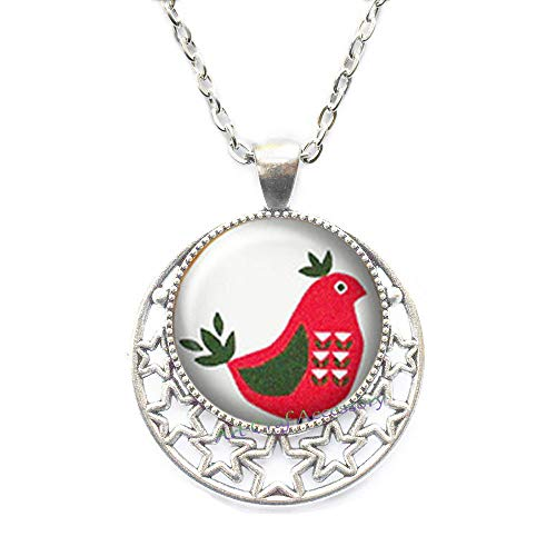 (Cute Chicken, red Hen, Tribe Turkey, Pattern on The Body, Silver Necklace Jewelry, Necklace,Art Photo Chicken Necklace Best Gift for Valentine's Day,RN301 )