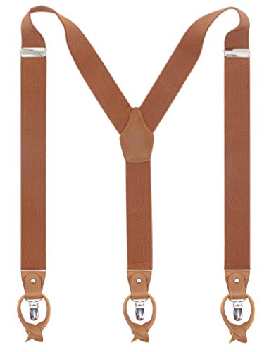 Leather Clip And Button Suspenders For Men, Y-Back Style For Formal Outfits (Camel) by Bioterti