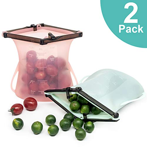 Silicone Reusable Bag & Silicone Container, Leakproof Reusable Sandwich & lunch Bag, BPA-Free Large Opening Stand Up Reusable Storage Bag, Sous Vide Microwave Dishwasher Freezer Safe,Pink/Green,2 pack
