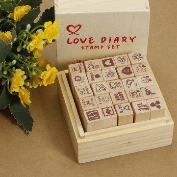 Agenda de cajas de madera antiguo amor de goma de los sellos ...