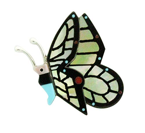 - Lin Shebola, Pin, Pendant, Multi Stone, Inlay, Butterfly, Zuni handmade