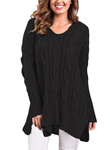 VERABENDI Women Casual V Neck Loose Fit Knit Sweater Pullover Top Black XL by VERABENDI