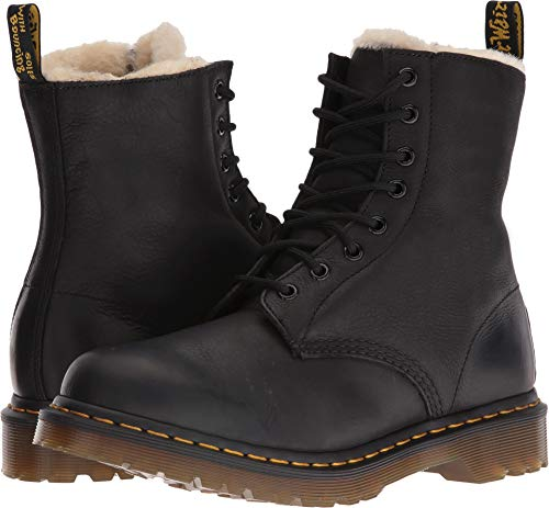 Dr. Martens Women's Serena Burnished Wyoming Leather Fashion Boot, Black, 8 Medium UK (10 US) (Boots Lined Sherpa)