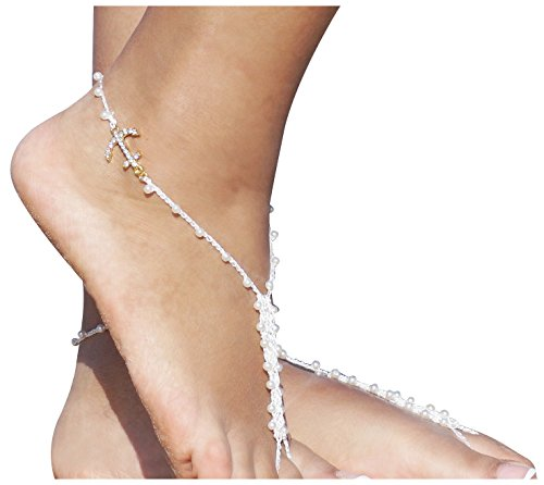 Beach Party Foot Jewelry Rhinestone Barefoot Sandals Bridal Accessories One (Bridal Barefoot Sandals)