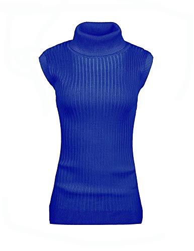 Wear Neck Blue (v28 Women's Ladies Juniors Sleeveless Mock Neck Turtleneck Tops Jumper Sweater(XL Blue))