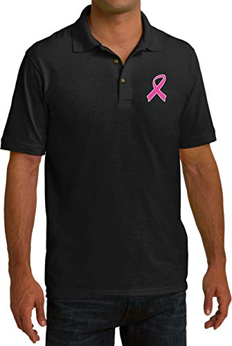 Buy Cool Shirts Breast Cancer Pink Ribbon Pocket Print Pique Polo, Black XL