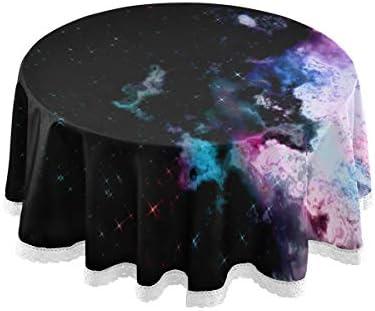 テーブルクロス 食卓カバー 宇宙 星空 星雲 背景 幻 テーブルマット 円形 北欧 撥水加工 汚れ防止 家庭用 高密度 おしゃれ ポリエステル素材 直径150cm