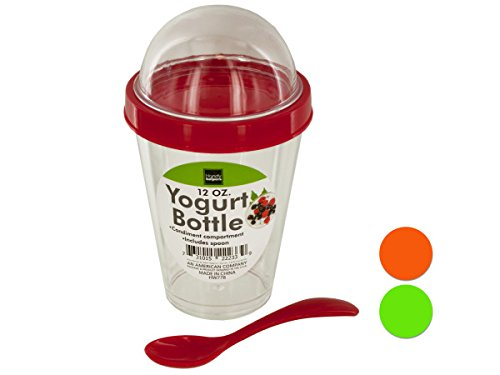Yogurt Cup with Topping Compartment & Spoon - Pack of 8