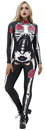 JomeDesign Womens 3D Skeleton Halloween Costumes Cosplay Jumpsuit Bodysuit Rose Skull Small -