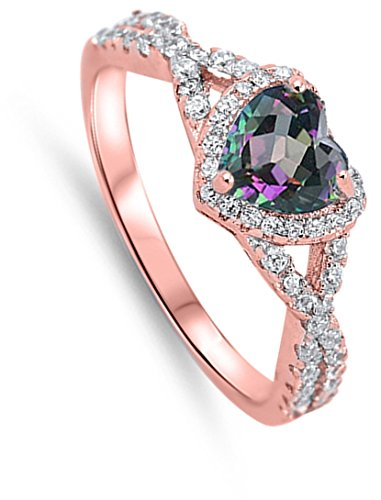 Rainbow Simulated Topaz Rose Gold-Tone Heart Ring .925 Sterling Silver Band Size 9 (RNG17555-9)