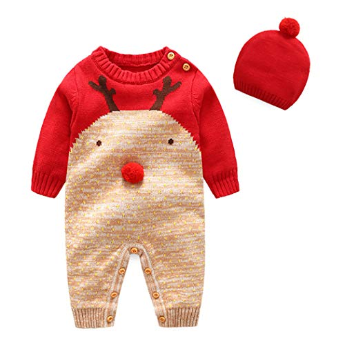 ALLAIBB Baby Boy Girl Christmas Outfit 2Pcs Set Knit Romper Sweater+Cap Costume Size 3-6M (Deer Face)