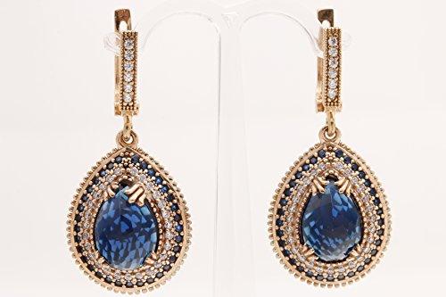 (Turkish Handmade Jewelry Drop Shape Pear Cut Sapphire and Round Cut Topaz 925 Sterling Silver Dangle/Drop)