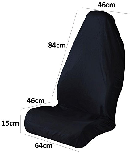 Black Car Strong Front Car Seat Cover Protector Quick Easy Fit Wipeable AutoPower