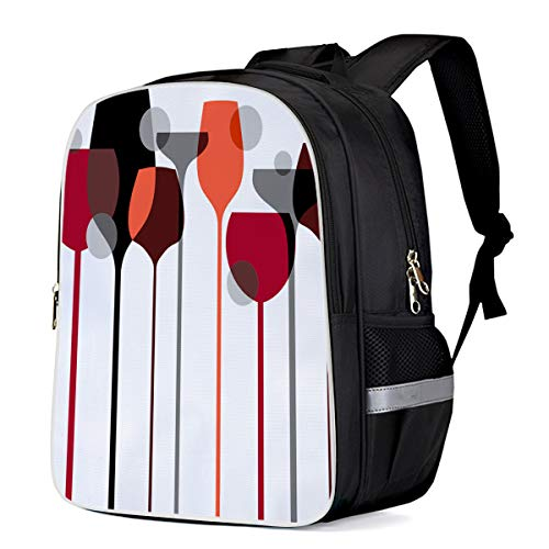 Lightweight Backpack for Students- Modern Art Design Goblet Red Wine Glass Pattern- Unisex Casual Daypack Elementary School Bags Printing Travel Laptop Bag