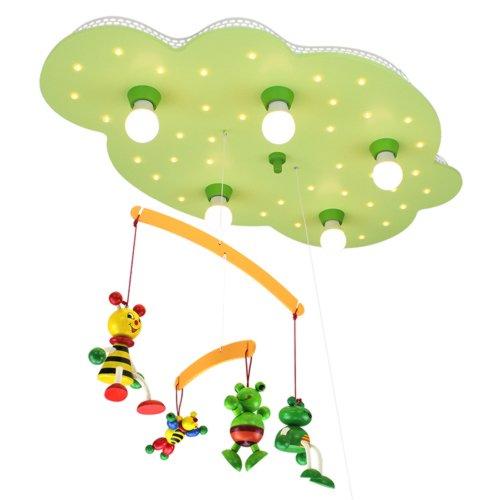 Elobra Deckenleuchte Wolke mit Mobile 'Bienen und Frösche', lindgrün 125953