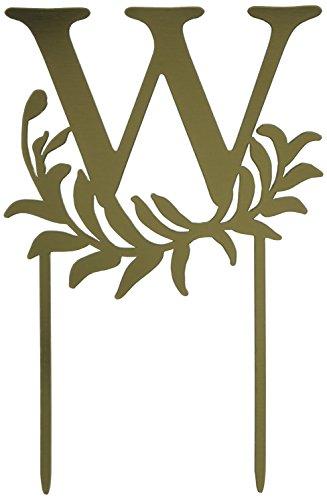 Weddingstar Letter W Modern Fairy Tale Monogram Acrylic Cake Topper, Metallic Gold