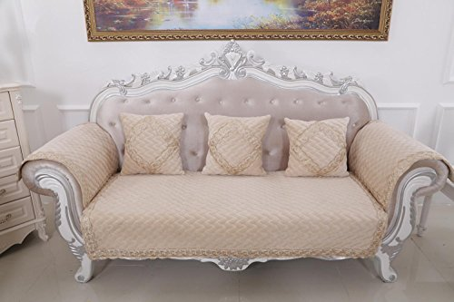 HUANZI 2 Seater Sofa Cover Loveseat Slipcover Non-slip classical Couch Cover Settee Protector Solid color , 110180cm (Settee Loose Covers)