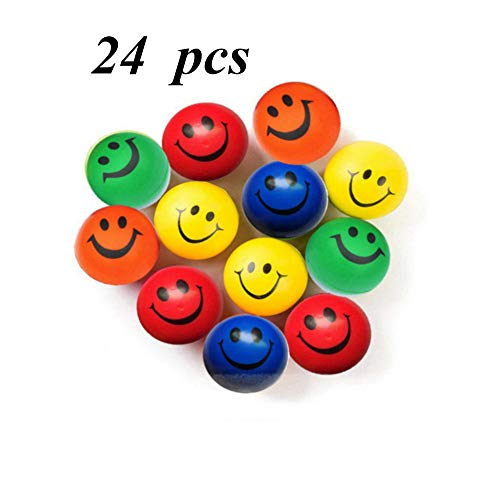 YYCC 24 Pieces of Foam PU Happy Smiley Face Stress Balls,Stress Relief Balls, Fun Party Toys Balls