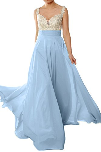 Long Himmelblau Lace Evening Prom MACloth Formal 2018 Chiffon Straps Gorgeous Gown Dress Pq7Aqw5