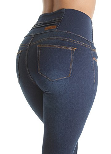 Fashion2Love WG0059B-P– Plus Size Butt Lifting, Levanta Cola, Elastic High Waist Skinny Jeans In Navy Size 20