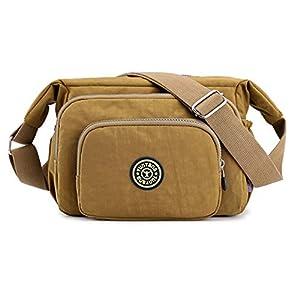 Diaper Bag Baby Nappy Changing Bag Shoulder Bags Waterproof Nylon Multiple Pockets Bags Adjustable Shoulder Strap Khaki