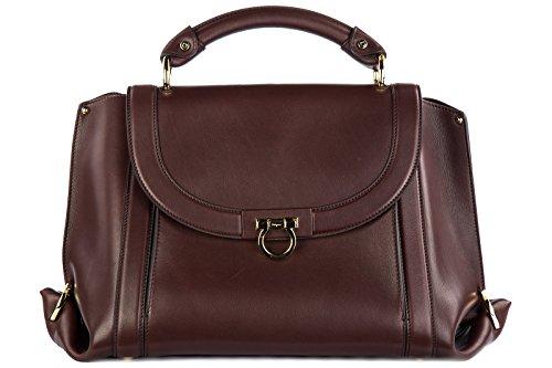 Salvatore Ferragamo Women's Suzanna 21G395 Deep Brown/Burgundy Handbag