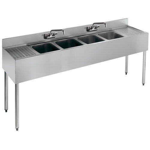 "Krowne Metal 21-64C 72"" Four-Compartment Bar Sink - 2100 Series"