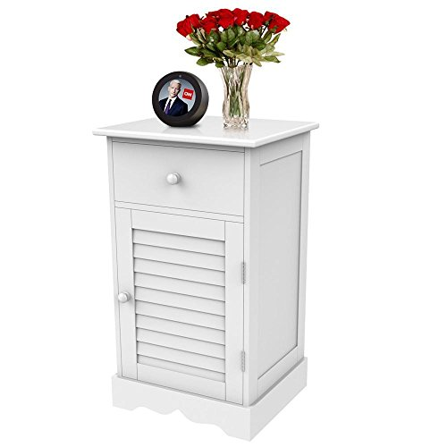 Yaheetech Nightstand End Table with One Drawer and Slatted Door, Wooden Accent Table Sofa Bed Side Storage Cabinet White ()