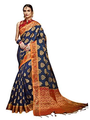 arasi Art Silk Woven Saree l Indian Ethnic Wedding Gift Sari with Unstitched Blouse Navy Blue ()
