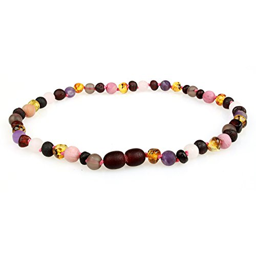 (Baltic Amber Teething Necklace (Unisex, 12.5 Inches) with Semi-Precious Gemstones - Matte Smoky Quartz, Rhodonite, Matte Rose Quartz, Matte Amethyst. Lab-Tested, 100% Certified - Teething Pain Relief)