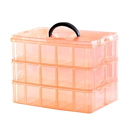Kamay's Extra Large 3 Tier Stackable Adjustable Compartment Slot Bead Craft Jewellery Tool Storage Organiser Snap-lock Tray Container, with 30 Compartments, Container Box,Orange by Kamay's