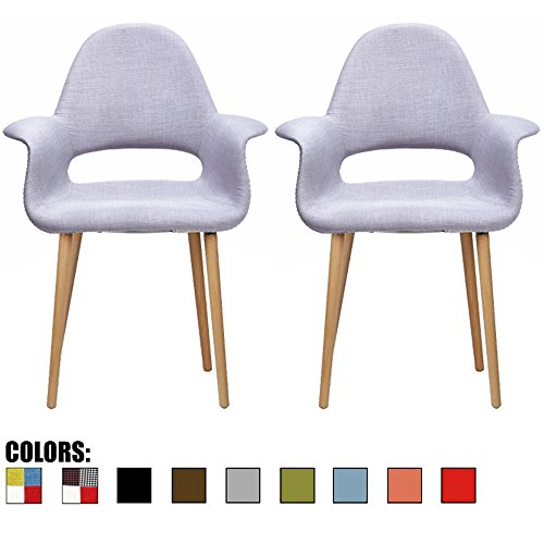 Cheap 2xhome – Set of 2, Gray Mid Century Modern Upholstered Fabric Organic Accent Living Room Dining Chair Armchair Set With Arms Back Armrest Natural light Wood Wooden Legs for Kitchen Bedroom