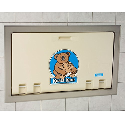 TableTop king KB100-00ST Horizontal Recessed Mounted Baby Changing Station with Stainless Steel Flange - Cream ()