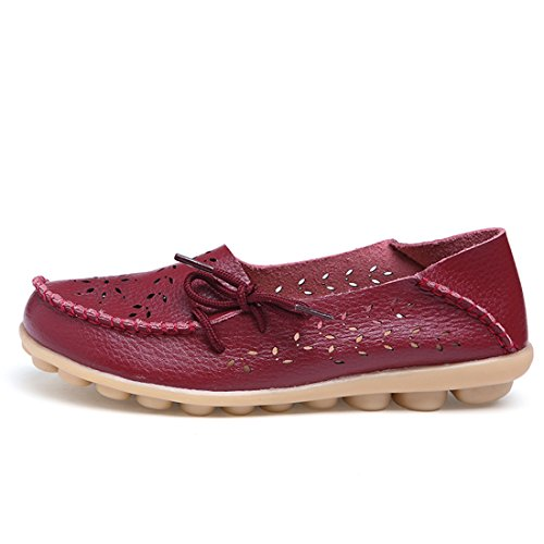O&N Womens Ladies Loafers Flat Casual Comfort Office Work School Slip On Pumps Shoes Wine Red InvVp08AOe