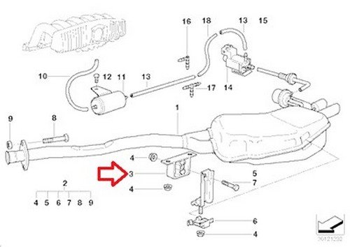 For 850i 318is 325i 840Ci Exhaust Support Bracket-Rear Muffler to Rubber Mount