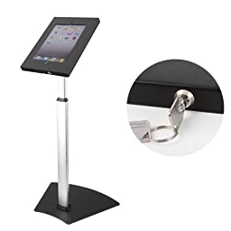 Mount-It! Tablet Floor Stand for POS and Kiosk Use, Floorstanding, Anti-Theft, Anti-Tamper, Ground Standing, Locking, Tilting iPad Tablet Mount for Apple iPad 2, 3, 4, Air and Samsung Sizes 10.1 In