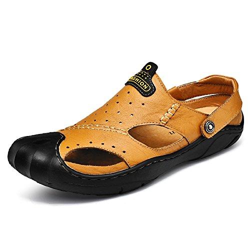 Pie Marrón Zapatos Mastery Libre H Moda Al Calzado Aire del Cuero Cerradas Sandalias Verano Caminar Hombre de Playa Para Dedo vAUFnHA
